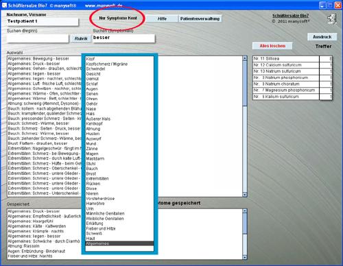 Bio 8 Schüsslersalze Repertorium Software mit Auswertung